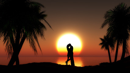 Couple against sunset sea with palm trees