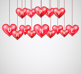 Valentines day with hanging hearts