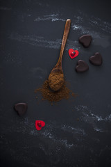 Cocoa and heart shaped pralines