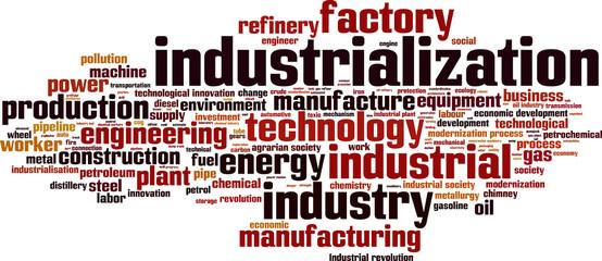 Industrialization word cloud concept. Vector illustration