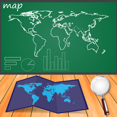 Map drawn on the board, accessories to it