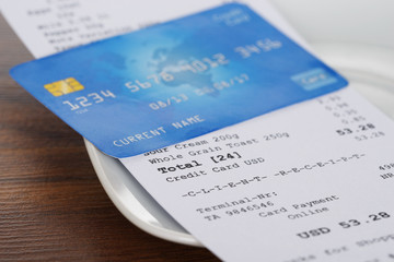 Credit Card On Shopping Receipt