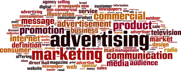 Advertising word cloud concept. Vector illustration