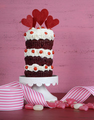 Novelty triple layer red velvet Valentine cupcake