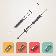 insulin syringe set fadding shadow effect color boxes