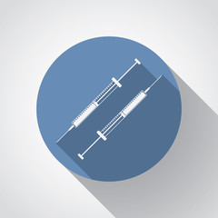 insulin syringe flat icon with long shadow on blue