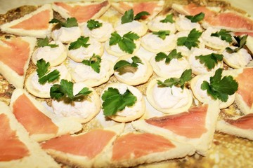 canapes with cheese sauce and parsley