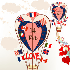 Air balloons with international flags and hearts Valentine's gre