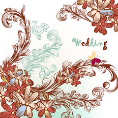 Beautiful wedding background with flowers and swirls