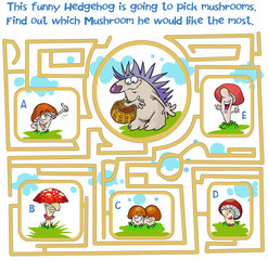 Hedgehog  and mushrooms maze game.