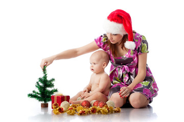Baby and mum with Christmas  decoration