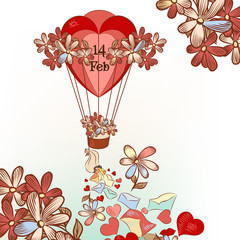 Cute Valentine's Day card with hand drawn air balloon, hearts an
