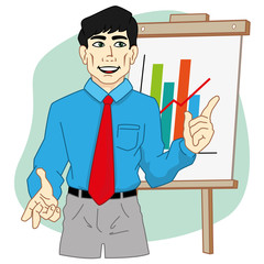 Person executive presenting chart on a flip chart in the office
