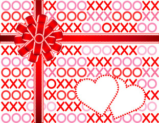 Hearts, Hugs and Kisses, red lace bow, copy space for Valentines