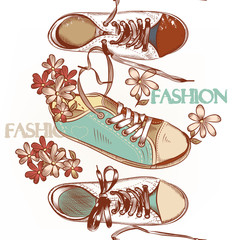 Fashion seamless pattern hand drawn sport boots