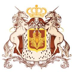 Heraldic design with coat of arms and unicorns