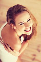 Beautiful caucasian woman in white lingerie.