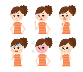 A set of six pose variations of young unhappy woman