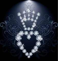Diamond crown and heart, vector illustration