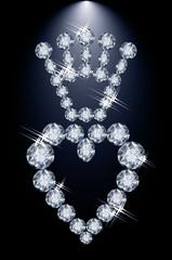 Brilliant diamond crown and heart, vector illustration