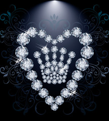Diamond Queen crown and heart, vector illustration