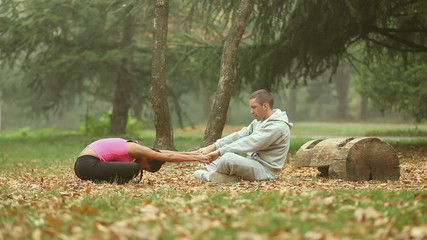 Couple stretching together Outdoor