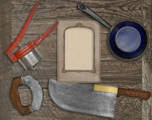vintage kitchen knife and utensils collage