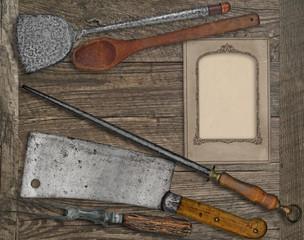 vintage menu card and utensils