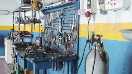 workbench of a auto mechanic - mechanic's workshop - garage - car repair shop