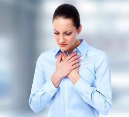 Woman having  pain.