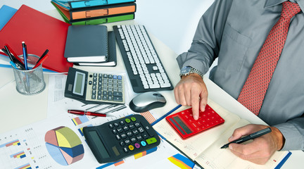 Hands of accountant man