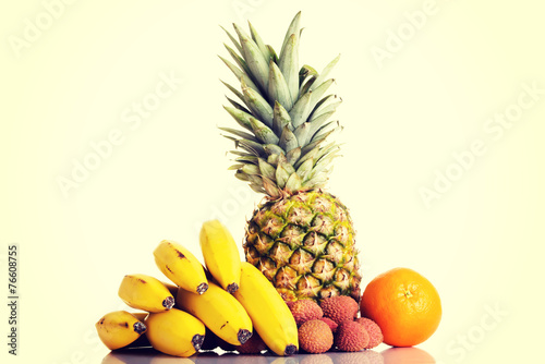 canvas print picture Composition of fresh exotic fruits.