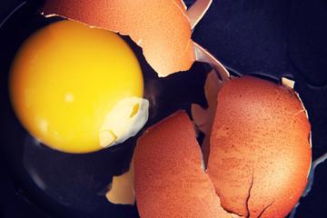 Broken egg, close up.