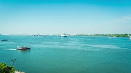 Ships in the Chaopraya River, Bangkok, Thailand
