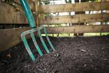 Garden fork turning compost