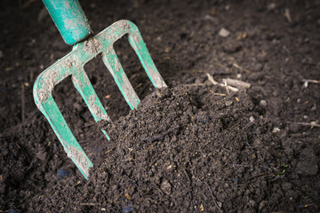 Garden fork turning composted soil