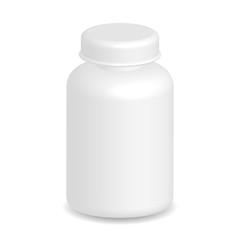 White plastic medical container bottle on white background
