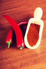 Two chili peppers with paprika spice.