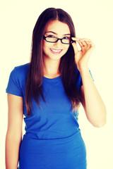 Beautiful woman in eyeglasses.