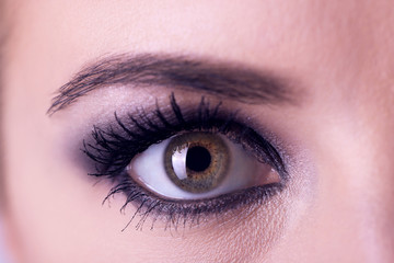 Smoky eyes makeup, macro