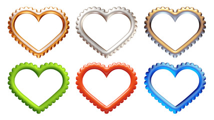 Set of 3D symbol hearts on isolated white background.