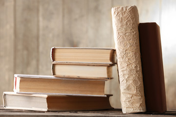 Stack of books on background