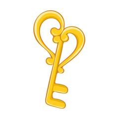 antique golden key isolated illustration