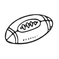 Hand draw rugby ball or American football