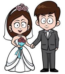 Vector Illustration of Cartoon Wedding couple