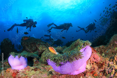 canvas print picture Scuba diving on coral reef