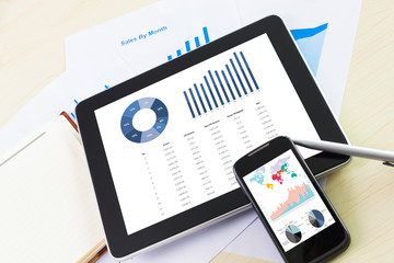 digital tablet and smartphone with financial chart report, paper