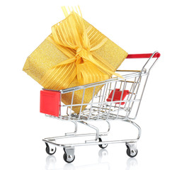 Small shopping cart with present box isolated on white