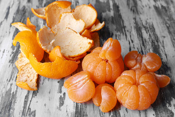 Tangerines on wooden table