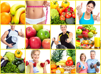 Weight loss and diet collage.